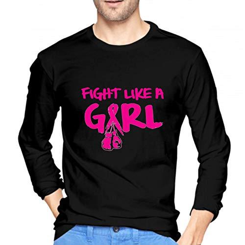 Handse Fight Like a Girl Breast Cancer Boxing Glove Humor Camiseta gráfica Divertida Hip Hop Hipster Pareja Manga Larga Cuello Redondo Camisetas Deportivas