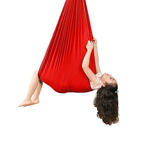 ZCXBHD Columpio De Terapia De Interior Hamaca para Niños Swing De Terapia para Niños o Adultos Terapia Autismo Yoga Integración Sensorial (Color : Red, Size : 100x280cm/39x110in)