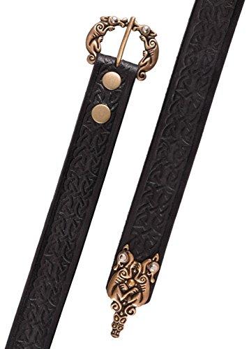 Kräftiger Ledergürtel mit Prägung in keltischem Muster ca. 177 cm lang Wikinger LARP Gürtel LARP Mittelalter verschiedene Farben (Braun)
