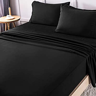 LIANLAM Full Bed Sheets Set - Super Soft Brushed Microfiber 1800 Thread Count - Breathable Luxury Egyptian Sheets 16-Inch Deep Pocket - Wrinkle and Hypoallergenic-4 Piece(Full, Black)