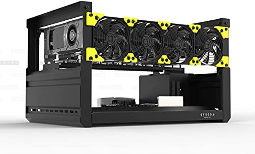 TTGULRR Veddha Mining Rig Marco, 6/8 GPU aluminio apilable al aire libre minería caso computadora Marcos Rig Ethereum (T2+4FANS)