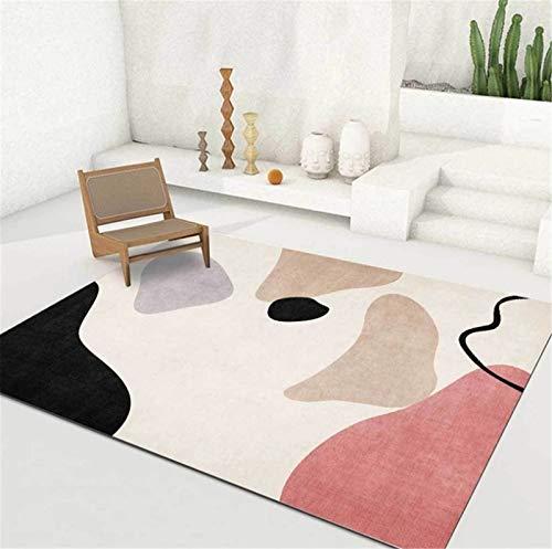 artkingdom Alfombra de Sala de Estar Dormitorio de casa Área de decoración de alfombras Blanco pequeño Rosa Tamaño 80 * 160 cm
