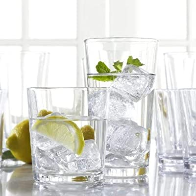 Mixed Drinkware Set of 8 - Clear Drinking Glasses, 4 Highball And 4 Rocks Glasses