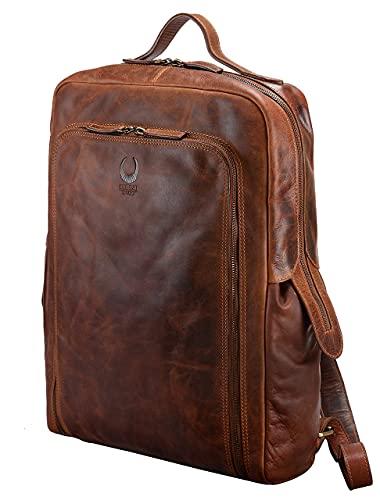 Corno d´Oro Leder Rucksack Groß für Damen und Herren I XL Kurierrucksack für 17 Zoll Laptop I Vintage Backpack Laptoprucksack Braun BP820