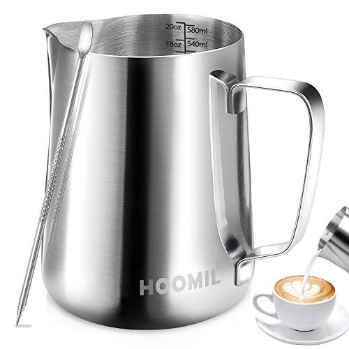 HOOMIL Bricco per Latte in Acciaio Inossidabile Latte Brocca in Schiuma per caffè e Latte Art (600ml/20fl.oz)