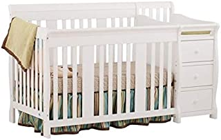 Pemberly Row 4-in1 Convertible Crib and Changer Combo with Fixed Side in White - Easily Converts to Toddler Bed, Day Bed or Full Bed, 3 Position Adjustable Height Mattress