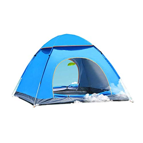 Without Pop-up tent camping tent waterproof tent 1~4 Person Automatic Pop Up Outdoor Family Camping Tent Easy Open Camp Tents Ultralight Instant Shade Portable Free Construction (Color : Blue)
