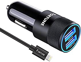 Fortune 24W iPhone Car Charger Compatible With iPhone X / 8 / 7 / 6s / 6 / 6 Plus / 5s / 5c / 5, iPad Pro Air Mini 2 / 3 / 4, iPod Nano Touch with Dual USB 5V 2.4A Ports & 6ft Apple charging Cord