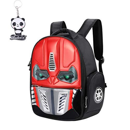 Mochila infantil 3D Transformers mochila impermeable para niño o niña, con luz de moda, creatividad, bolso bandolera de nailon, mochila de viaje, camping, senderismo, para niños de 5 a 10 años