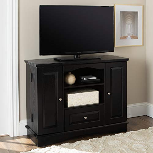 """Walker Edison Tall Traditional Wood Universal Stand with Cabinet Doors and Open TV's up to 48"""" Living Room Storage Shelves Entertainment Center, 42 Inch, Black"""