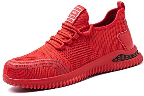 Zapatos con Punta de Acero Hombres Mujeres Seguridad Antipinchazos Entrenador de Trabajo Ligero Transpirable Impermeable Utilidad Protectora Antipinchazos Industrial Red 38EU