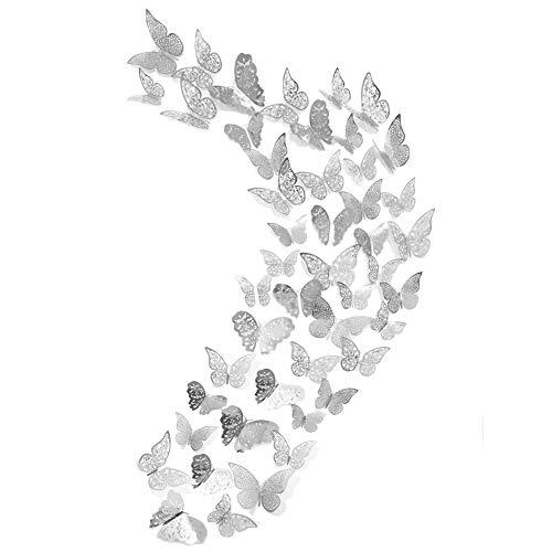 48er Deko Schmetterling Wandaufkleber, Creatiees 3D Abnehmbar Schmetterlinge Wandaufkleber Wandtattoo Wandbilder Wandsticker Dekoration mit Klebepunkten für Schlafzimmer(Silber)