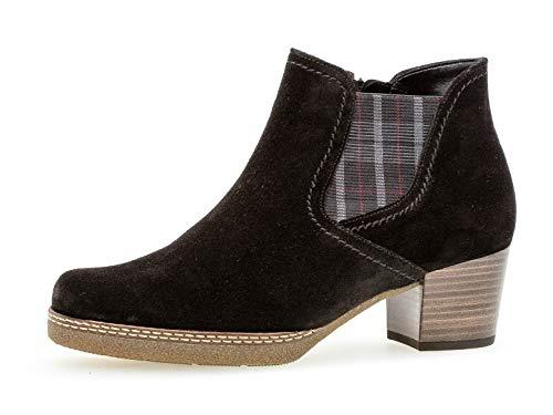 Gabor Damen Chelsea Boots 36.661, Frauen Stiefelette,Stiefel,Halbstiefel,Bootie,Schlupfstiefel,hoch,schw(S.n/Karo/Mic),39 EU / 6 UK
