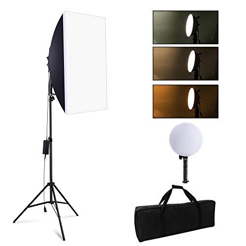 SEDGEWIN - Set di lampade per studio fotografico, 2700 W, luce diurna professionale, con supporto regolabile da 2 m e LED dimmerabile 3200K-5500 K