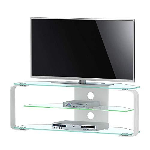 Jahnke CU-MR 110 LED KGL/AL GESCHL TV Rack, ESG veiligheidsglas, metaal, helder glas/aluminium geslepen, 114 x 40 x 40 cm