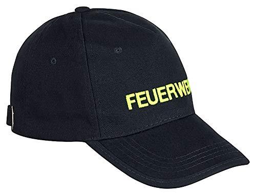 PACOTEX Premium Feuerwehr Cap Basecap in robuster Arbeitskleidungs-Qualität marineblau mit FEUERWEHR Bestickung (Leuchtgelb)
