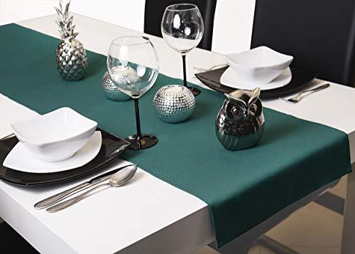 Roban Fashion, Runner Da Tavolo, 40 Cm Di Larghezza, In 26 Colori, Verde Smeraldo., 40 X 130 Cm