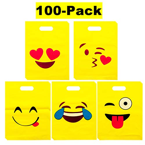 LOUHUA Pack of 100 Emoji Party Favor Gift Candy Bags Bulk for Boys Girls Kids Party Supplies Favors (20 pcs per style)