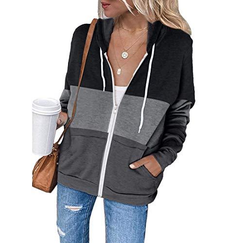 MoneRffi Damen Kapuzenjacke Sweat Jacke Color Block Hoodie Sweatshirt Jacke Pullover Tops mit Kapuze Reißverschluss Tasche Casual Hoodie Sweatshirt