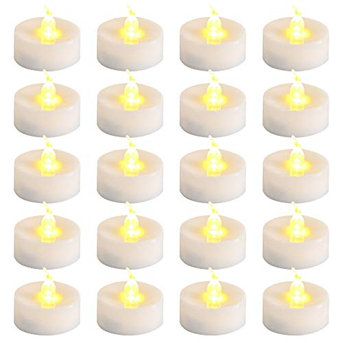 ZoneYan LED Tealights, LED Candles, LED Tea Lights, Pack of 20, Battery Operated Candles, Warm LED Flameless Candles, LED Candles Wireless Decoration