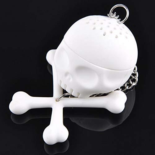 Jessicadaphne Forma de cráneo Humano Colador de té Silicona Tetera de Filtro de infusor de té Interesante para té Café Drinkware