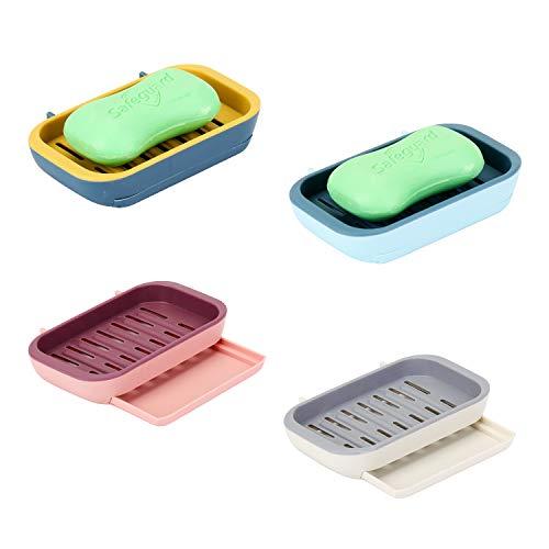 EKKONG Seifenschale, 4 Stück wasserdichte Seifendose Reise Kunststoff Seifenbehälter für Haus, Bad, Wandern, Reisen, Camping Seifenschalen Box