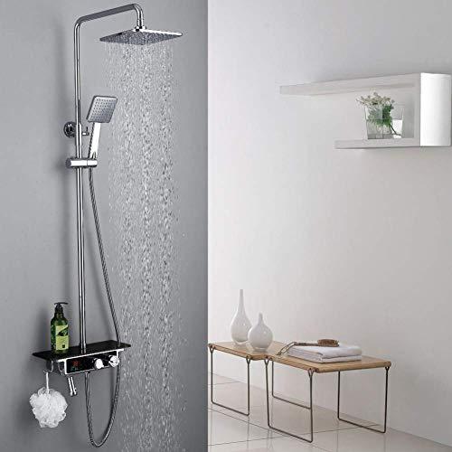 Zixin Taps Wasserfall Messing verchromt Wand montiert Thermostatduscharmatur Satz mit Temperaturanzeige und großer Platte Taps