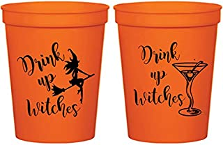Halloween Orange Plastic Stadium Cups - Drink Up Witches Martini (10 cups)