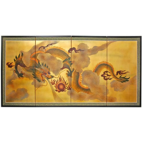 Oriental Furniture 36' Dragon in the Sky on Gold Leaf
