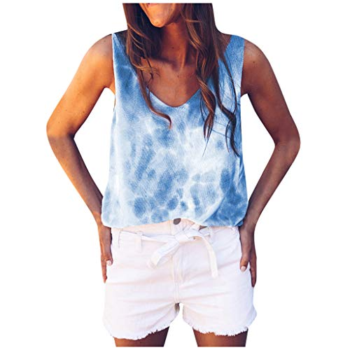 Fcostume Damen Tank Top Tie-dye Ärmellos T-Shirt Weste Sommer Trägershirt Rundhals Shirt Oberteil Racerback Sporttop Hemden Bluse
