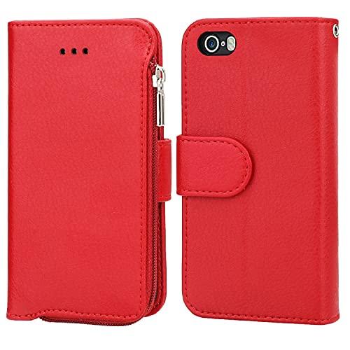 Funda protectora Para la funda de la cartera de iPhone 5s, Flip SpeedStand & Zipper Money Pocket Moneder Feature Secure-Fit Protective Cremallera con cremallera con cuero de microfibra ( Color : Red )