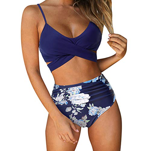 RUUHEE Women Criss Cross High Waisted String Floral Printed 2 Piece Bathing Suits (XL(US Size 10-12), Navy Blue-2)