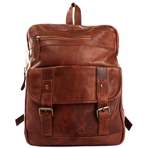 LECONI Rucksack retro Lederrucksack Freizeitrucksack Vintage-Look Wanderrucksack backpack modern für Damen & Herren echtes Leder 30x37x13cm 30x37x13cm braun LE1018-wax