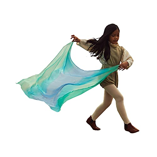 Sarah's Silks Enchanted Playsilk, 100% Silk Scarves for Toddlers, Bright Colored, Waldorf Toy Square Scarves Perfect for Imaginative and Pretend Play - Sea