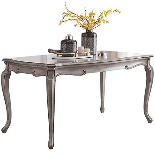 HMBB Mesa de comedor, Mesa de madera maciza Mobiliario Mesa de comedor, Gris (Size : 160x90x80cm)
