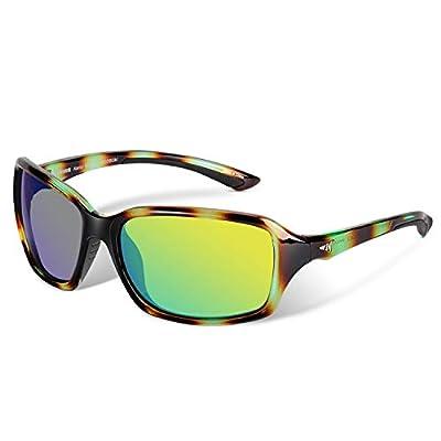 KastKing Alanta Sport Sunglasses for Women,Gloss Green Demi Frame, Brown Base Chartreuse Mirror
