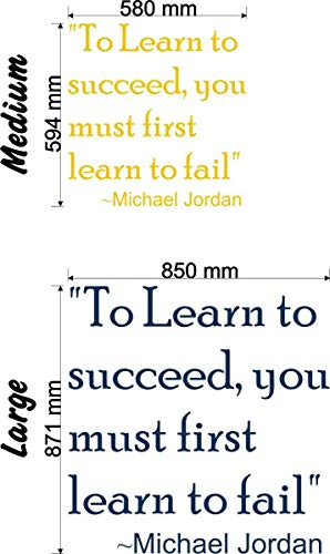 Wonderous Wall Art Autocollant Mural Inscription to Learn to Succeed Noir Taille M