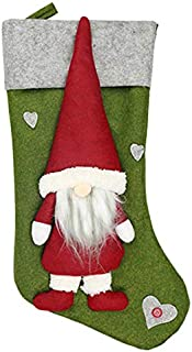 TOOGOO Christmas Stocking Santa Claus Candy Gift Bag Xmas Tree Hanging Decor Green