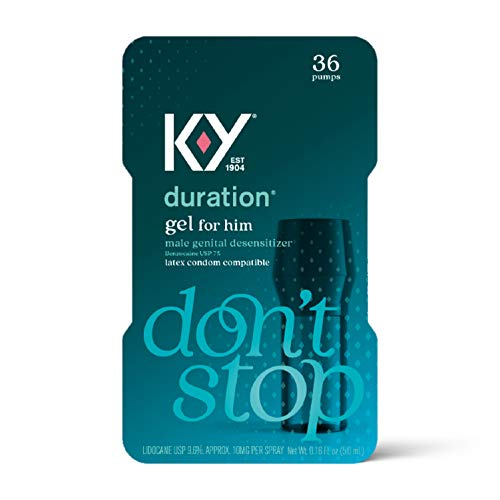 Duration Gel for Men, K-Y Male Genital Desensitizer Numbing Gel to Last Longer, 0.16 fl oz, 36 Pumps, Made with Benzocaine to Help Men Last Longer in Bed, (Packaging May Vary)