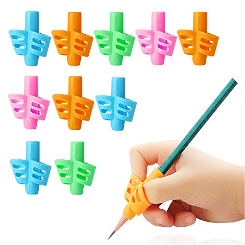 HILELIFE Pencil Grips - 10 Pack Pencil Grips for Kids Handwriting, Ergonomic Writing Training Aid Correction Silicon Gel Pencil Grip for Children Preschoolers