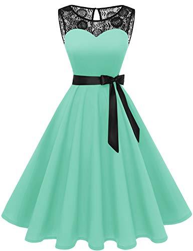 Bbonlinedress 1950er Ärmellos Vintage Retro Spitzenkleid Rundhals Abendkleid Mint L