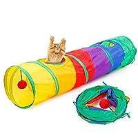 ペット おもちゃ 猫 トンネル おもちゃ キャットトンネル 長い 折りたたみ 長さ:115CM×直径:25CM 収納便利 (style1)