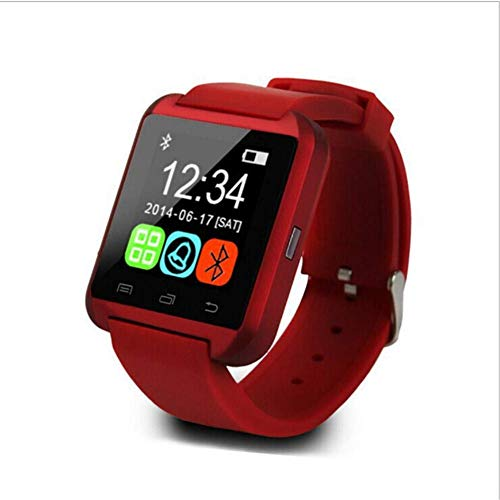 Smartwatch Bluetooth para iOS Android Smart Phone Monitor de sueño Fitness Tracker Reloj Dispositivo portátil Sport Smart Watch U8, Negro Rojo