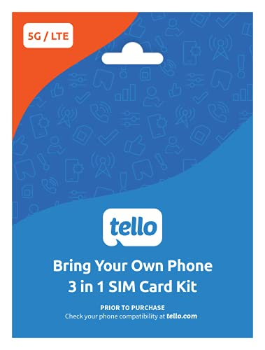 Tello Mobile - Bring Your Own Phone - 3 in 1 GSM SIM Card Kit
