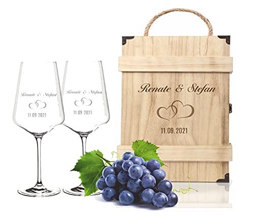 FORYOU24 2 Leonardo Weingläser Puccini mit Gravur - Holz Vintage Weinkiste - Motiv Paar - zur Hochzeit Geschenkidee Wein-Gläser graviert