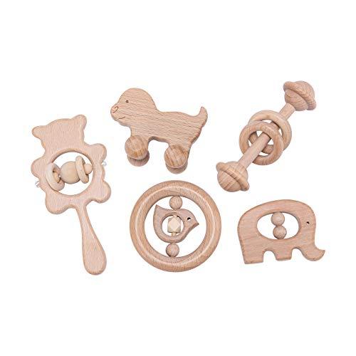 Mamimami Home 5PC Bebé mordedor de madera juguetes madera de haya animal elefante pájaro en forma de anillos dentición sonajero jugar gimnasio juguetes montessori ducha regalo sonajeros Bebé