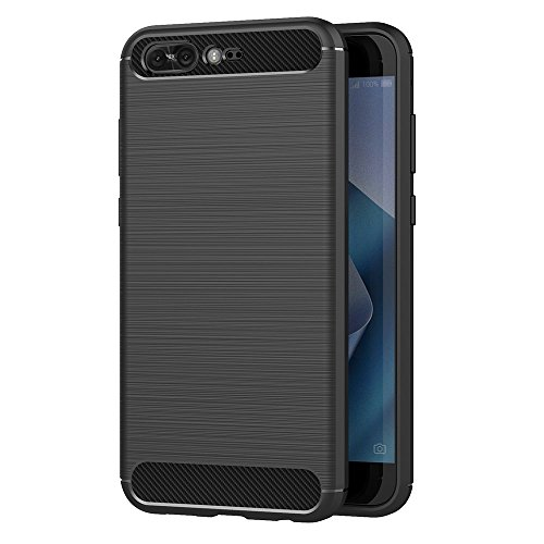MaiJin Case for Asus ZenFone 4 Pro ZS551KL (5.5 inch) Soft Silicon Luxury Brushed with Texture Carbon Fiber Design Protection Cover (Black)