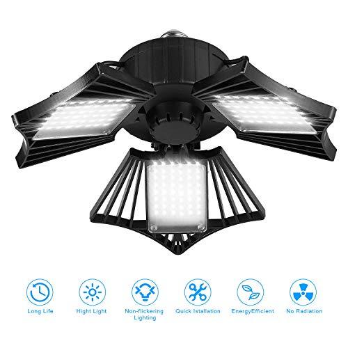 80W LED Garage Light, Deformable LED Garage Ceiling Lights with 3 Adjustable Wings, 8000LM, E26 LED Garage Lighting for Warehouse, Workshop, Basement (No Motion Detection) (1 Pack)