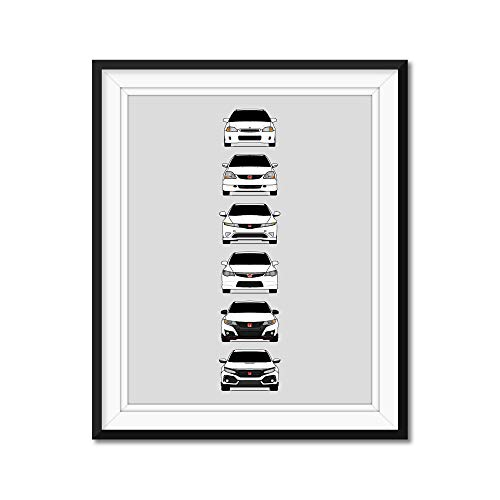 Honda Civic Type-R Generations Inspired Poster Print Wall Art Handmade Decor of the History and Evolution of the Civic Type R (EK9, EP3, FD2, FN2, FK2, FK8)