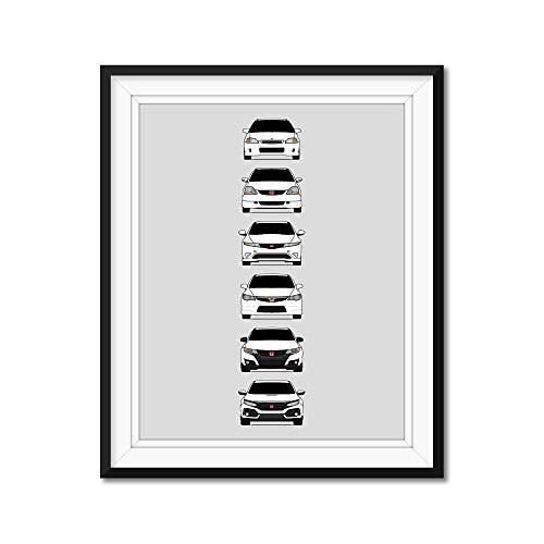 Honda Civic Type-R Generations Inspired Poster Print Wall Art Handmade Decor of the History and Evolution of the Civic Type R (EK9, EP3, FD2, FN2, FK2, FK8)